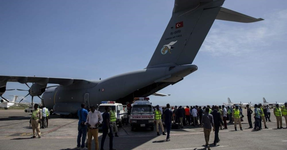A Turkish Army plane carrying victims critically injured in the terror attack in Mogadishu, Somalia (AA Photo)