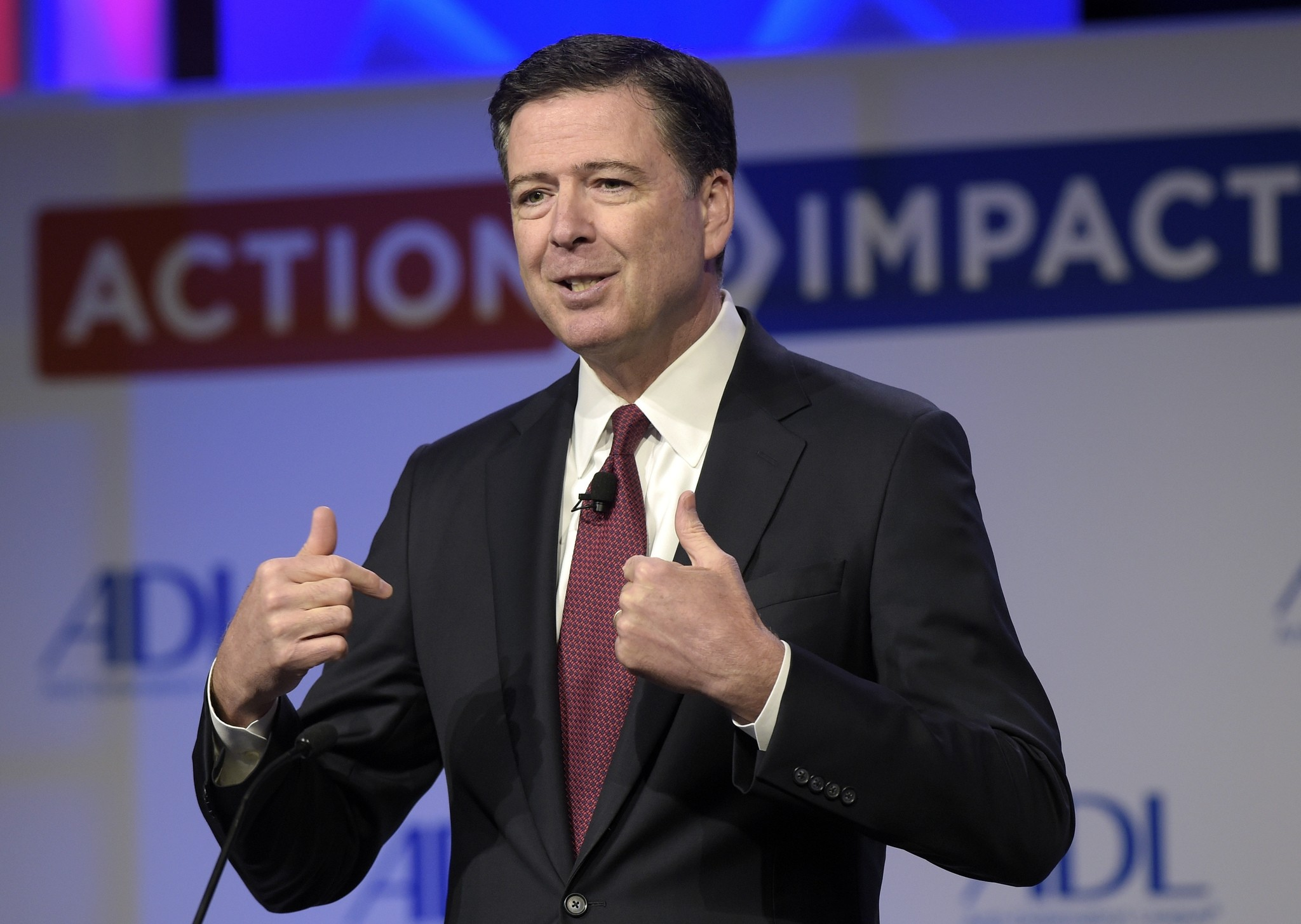 In this May 8, 2017, file photo, then-FBI Director James Comey speaks to the Anti-Defamation League National Leadership Summit in Washington. (AP Photo)