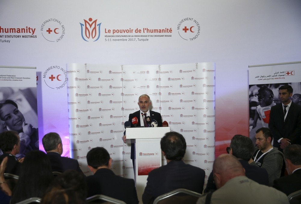 Dr. Kerem Ku0131nu0131k speaks at a press conference after his election as IFRC regional vice chair.