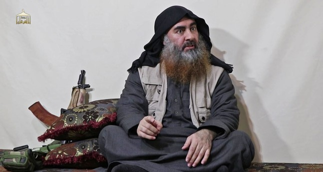 In this undated filer image grab taken from a video released by Al-Furqan media on April 29, 2019, the chief of Daesh terror group Abu Bakr al-Baghdadi appears for the first time in 5 years in a propaganda video in an unknown location. (AFP Photo)