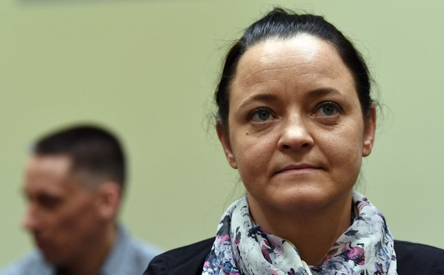 Beate Zschaepe seen at yesterday's hearing in Munich. She is the sole surviving member of the NSU gang.