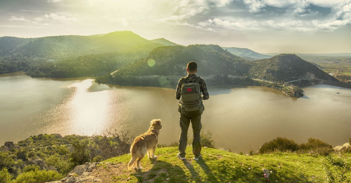 A traveler enjoys a serene landscape with his dog. A mindful traveler aims to be present for the eduring a trip or a holiday.