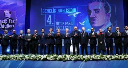 pPresident Recep Tayyip Erdoğan attended a literary award ceremony Friday in Istanbul in memory of Turkish poet and philosopher Necip Fazıl Kısakürek./p  pNecip Fazıl was a poet, novelist and...