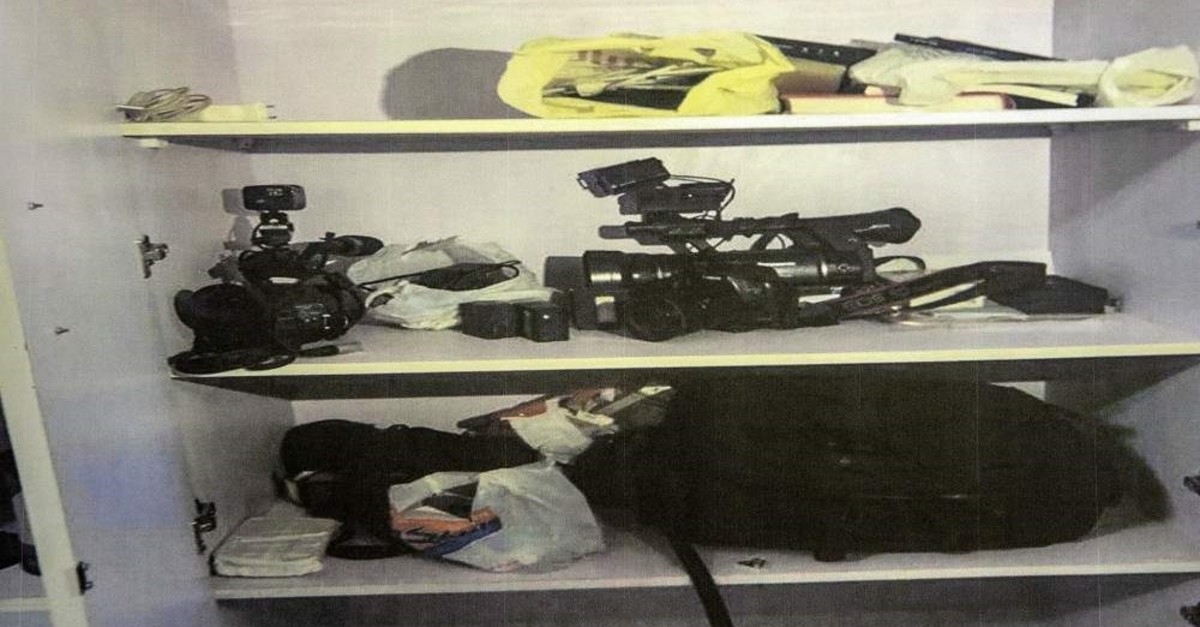 Egyptian police published photos of ,seized items,, including of cameras, from the AA office in Cairo. (AA Photo)