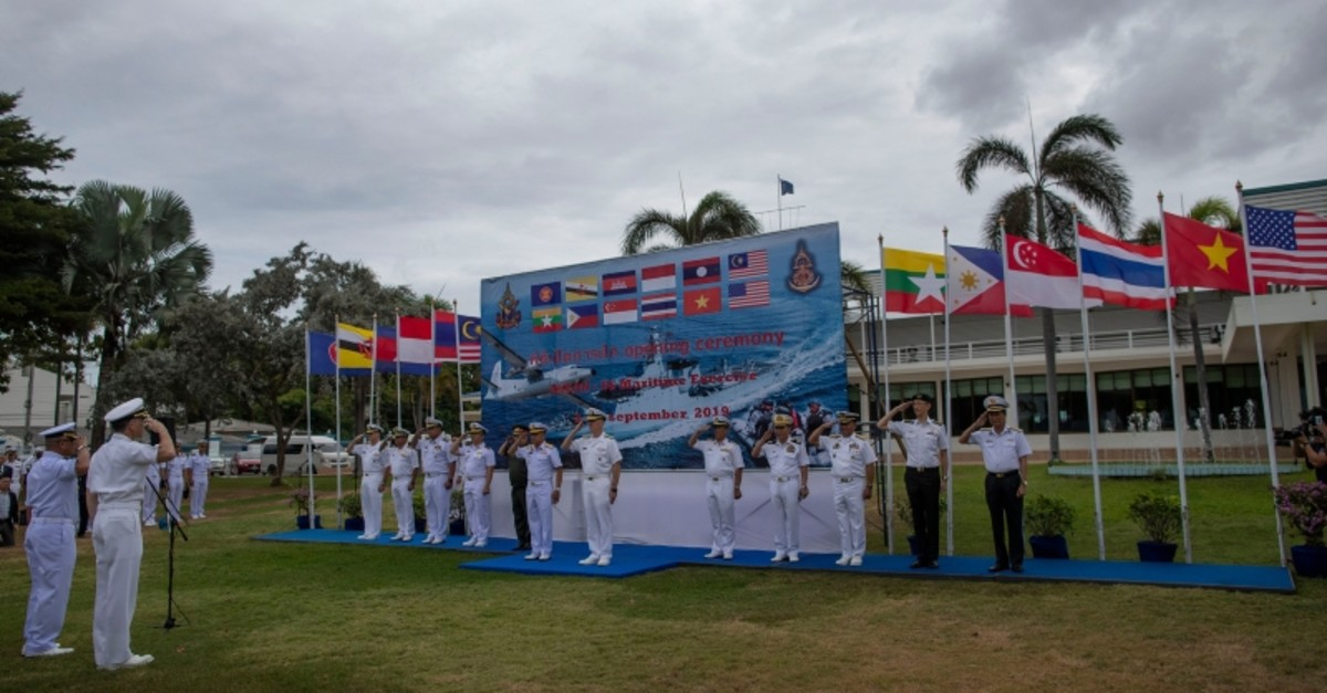 Officers of the U.S. Navy and maritime forces of Association of Southeast Asian Nations (ASEAN) participate in the inauguration ceremony of ASEAN-U.S. Maritime Exercise in Sattahip, Thailand, Monday, Sep. 2, 2019. (AP Photo)