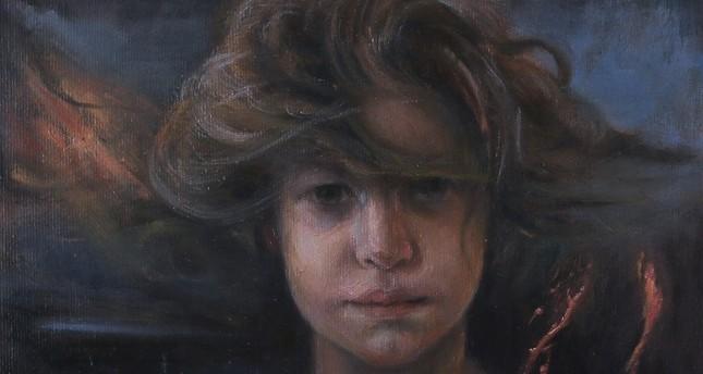 Doğuş (2019) by Feyzan Alasya, oil painting on canvas, 25 x 25 cm.