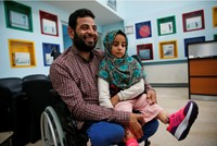 Syrian girl born without legs swaps tin cans for prosthetics in Turkey