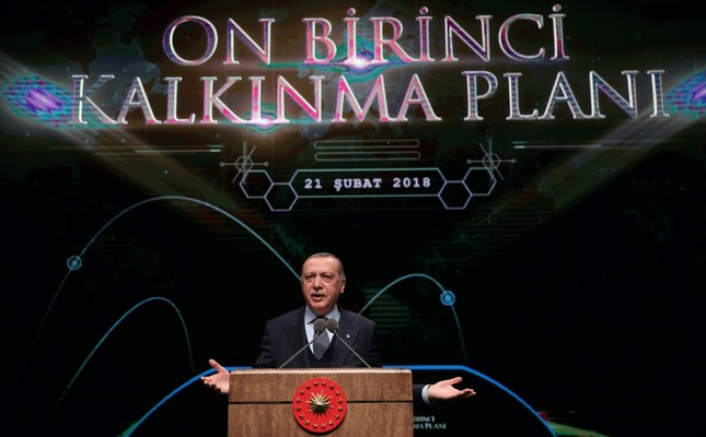 President Erdoğan speaks at the launch of the 11th Development Plan, which will start to be implemented in 2019 with a view to deliver Turkey's 2023 vision, Ankara, Feb. 21.