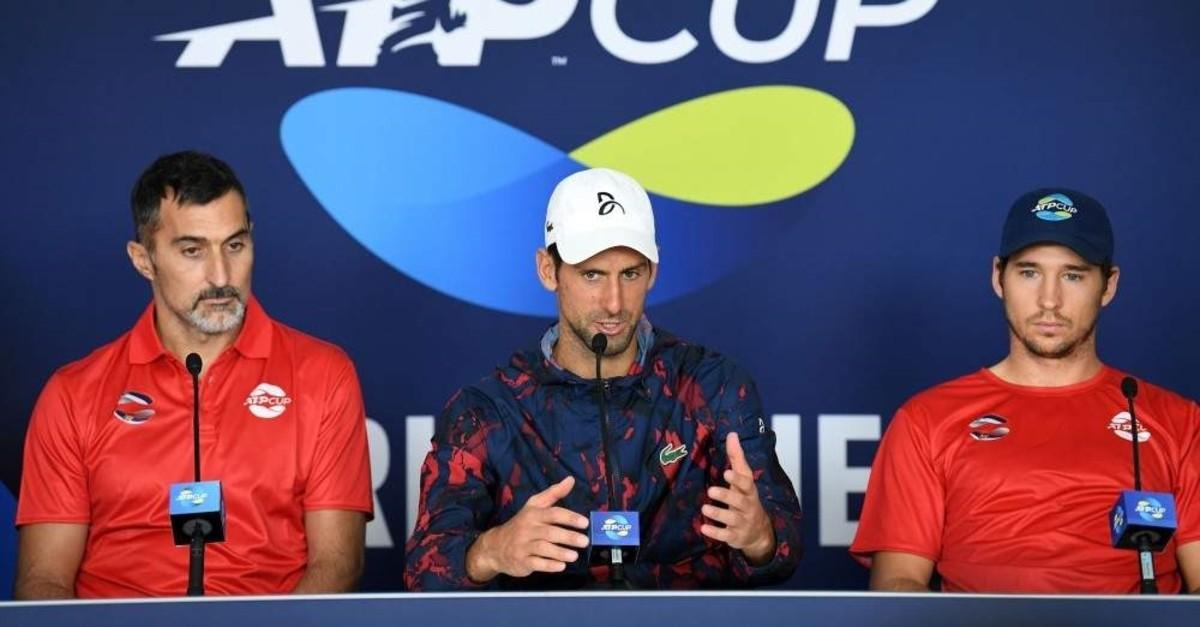 Novak Djokovic (C) attend a press conference ahead of the ATP Cup tennis tournament, Brisbane, Jan. 2, 2020. (AFP Photo)