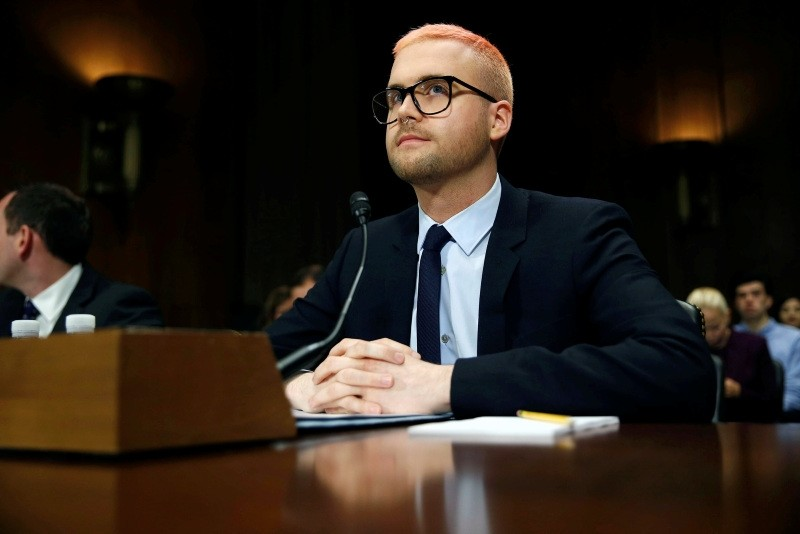 Christopher Wylie, former Cambridge Analytica research director, sits to testify before a Senate Judiciary Committee hearing titled, ,Cambridge Analytica and the Future of Data Privacy, on Capitol Hill in Washington, May 16, 2018. (Reuters Photo)