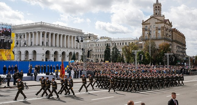 A Ukrainian Armed Forces military unit marches on Kiev's Independence Square, Ukraine, 24 August 2017, during a parade on the occasion of the country's 'Independence Day' celebrations. (EPA Photo)