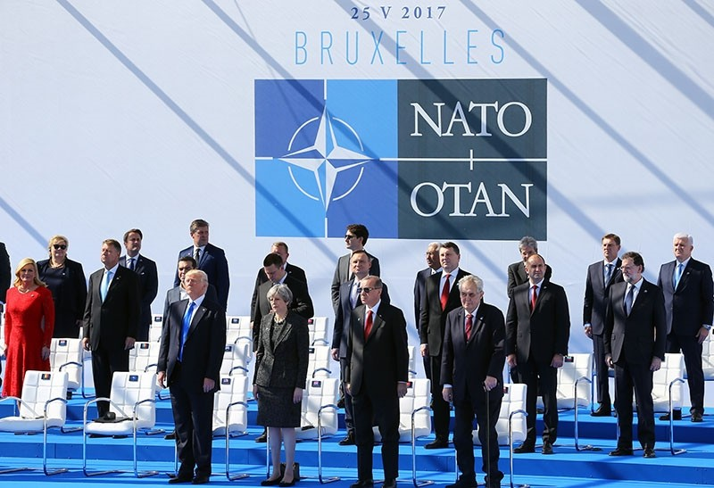 Leaders of NATO member states pose for a photo during the opening ceremony of the alliance's new headquarters in Brussels, Belgium, May 25, 2017.