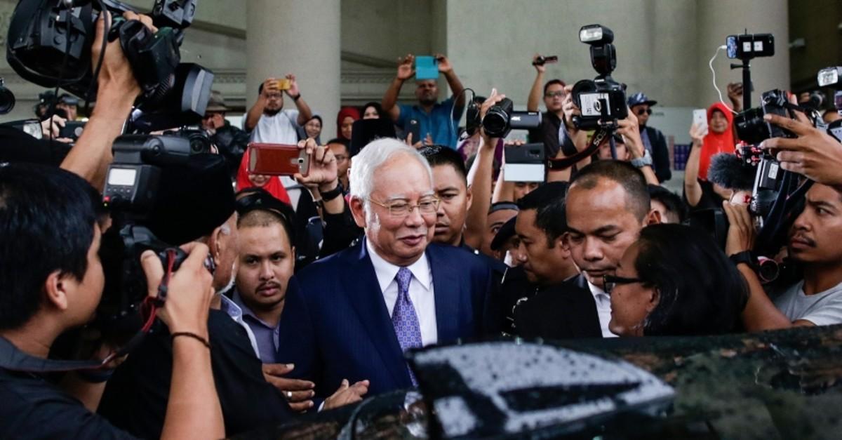 Former Malaysian Prime Minister Najib Razak leaves the Kuala Lumpur High Court, Malaysia, April 3, 2019. (EPA Photo)