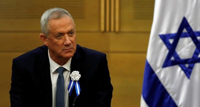 Benny Gantz, leader of the Blue and White party, looks on during his party faction meeting at the Knesset, Israel's parliament, in Jerusalem, Oct. 3, 2019. Reuters Photo