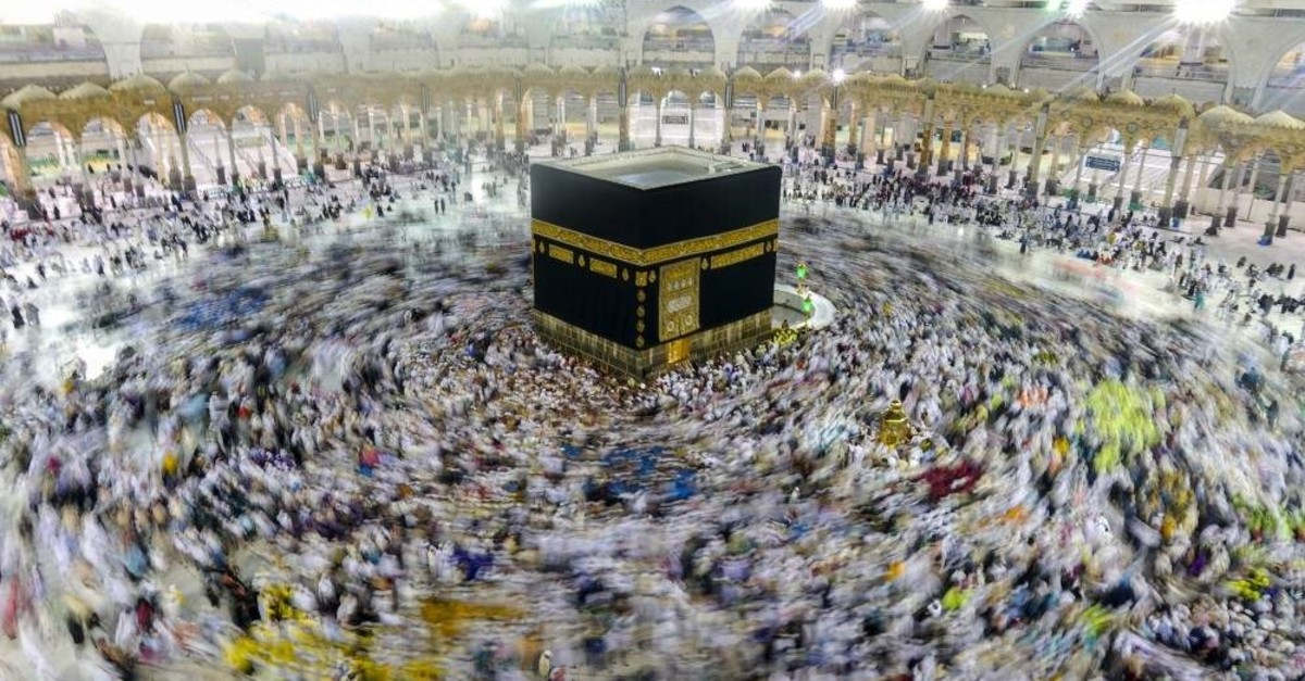 Pilgrims circumambulate Kaaba, the holiest structure in Islam in this undated photo. Every year, millions of Muslims visit Saudi Arabia for hajj. (AA Photo)