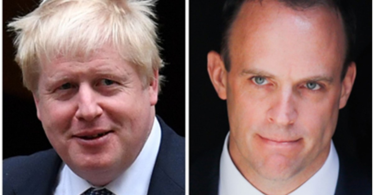 A combination of pictures created in London on June 14, 2019 shows former foreign secretary Boris Johnson (L) and former Brexit Secretary Dominic Raab. (AFP Photo)