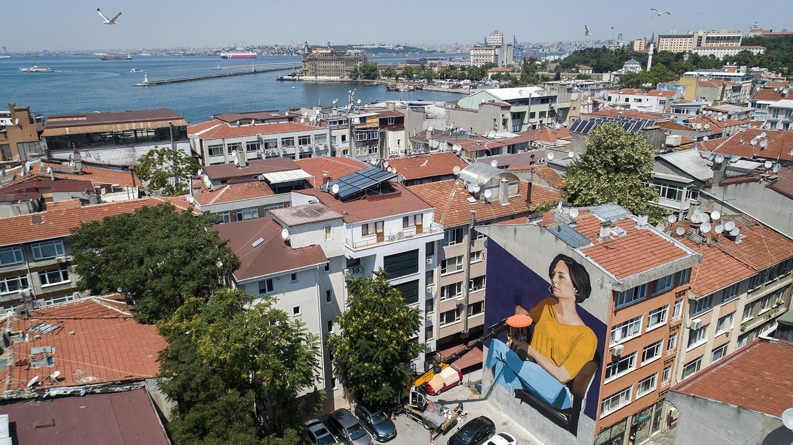 Giant murals embellish buildings in Istanbul's Kadıköy