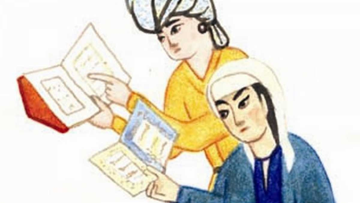 An illustration by an unknown artist depicts Muslim female scholars studiying the Quran.