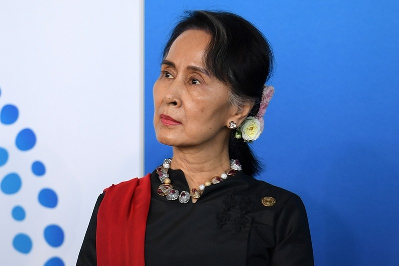 Myanmar State Counsellor Aung San Suu Kyi listens to an address to the New Colombo Plan Reception at the Association of Southeast Asian Nations (ASEAN)-Australia special summit in Sydney, Australia, March 17, 2018. (AFP Photo)