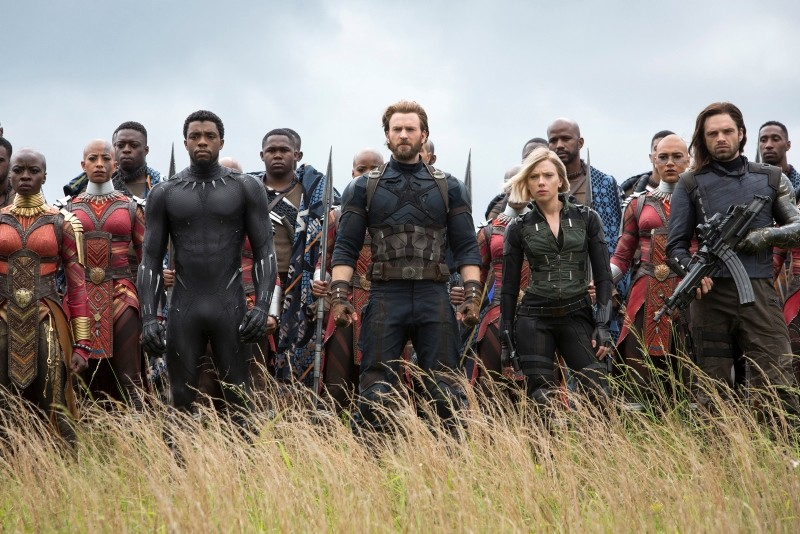 This image released by Marvel Studios shows Danai Gurira, Chadwick Boseman, Chris Evans, Scarlet Johansson and Sebastian Stan in a scene from ,Avengers: Infinity War., (AP Photo)