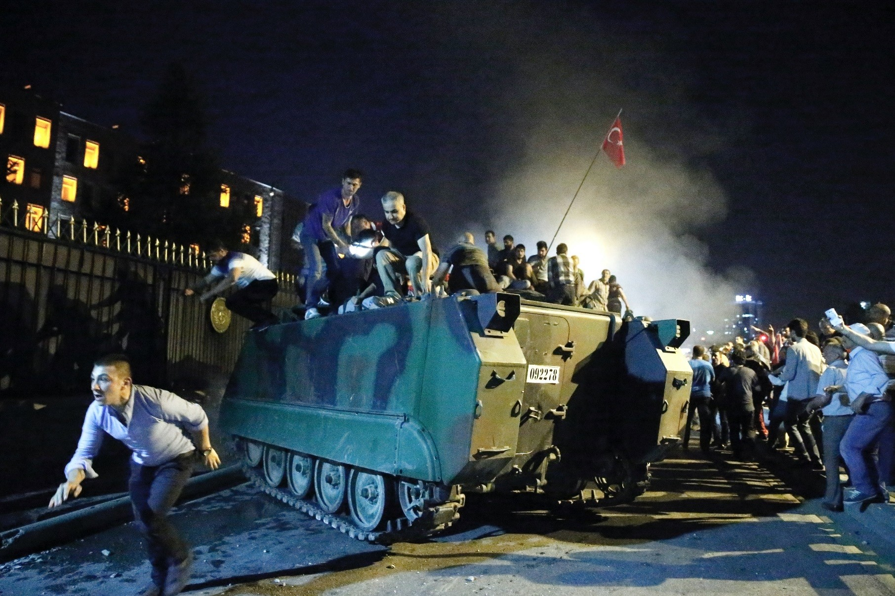 Anti-coup protesters stop a tank outside the military headquarters in Ankara on July 15, 2016. Some defendants sentenced to life in yesterdayu2019s trial were sent there by coup plotters in a bid to take it over.