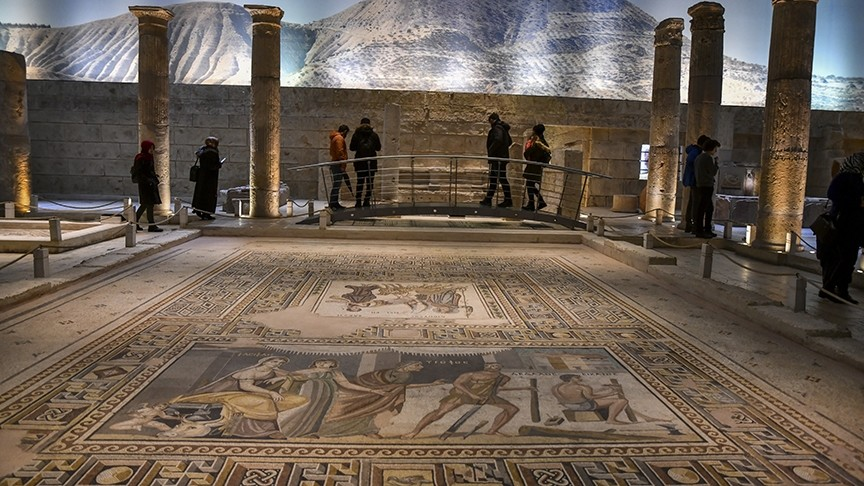 Zeugma Mosaic Museum in Gaziantep is one of the major tourist attractions in the city where the famous ,Gypsy Girl, mosaic is on display.