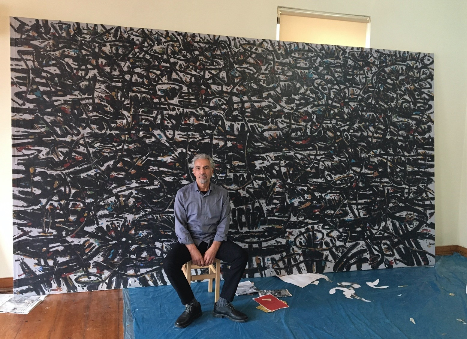 Mahmut Celayir creates his landscape paintings which bear traces of his Southeastern Anatolian origins in his studio in Istanbul.