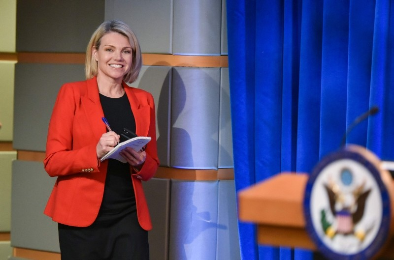 In this file photo taken on May 29, 2018, US State Department spokesperson Heather Nauert arrives for the release of the 2017 Annual Report on International Religious Freedom at the US Department of State in Washington, DC. (AFP Photo)