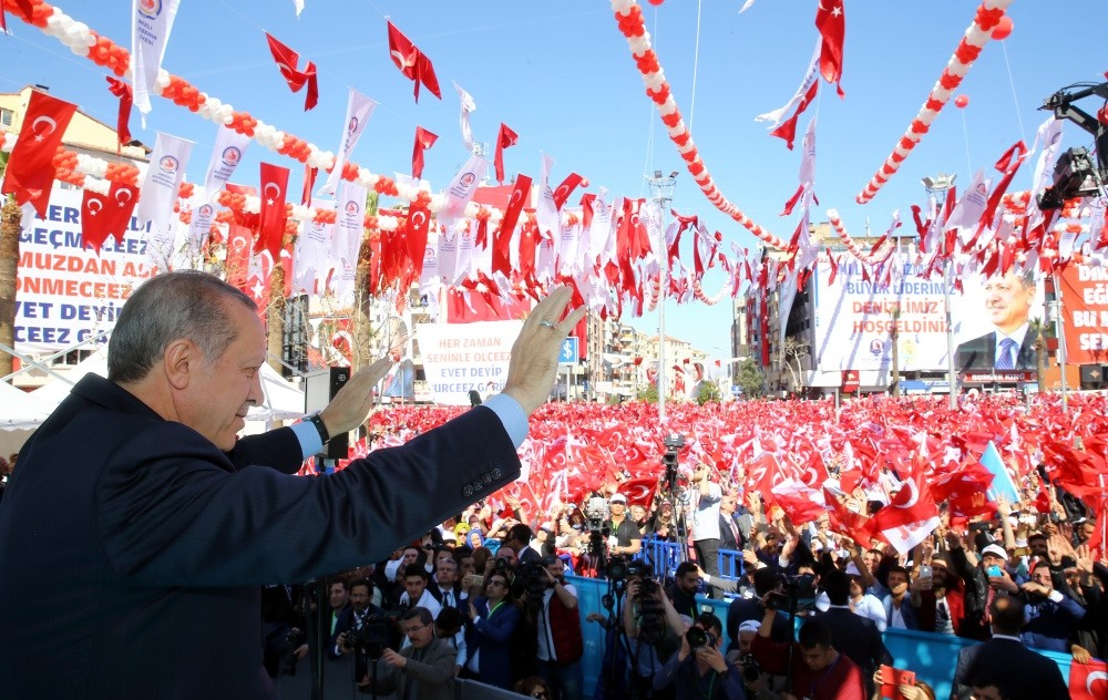 President Recep Tayyip Erdou011fan addressing the crowd during an inauguration ceremony at the western Denizli province on Friday.