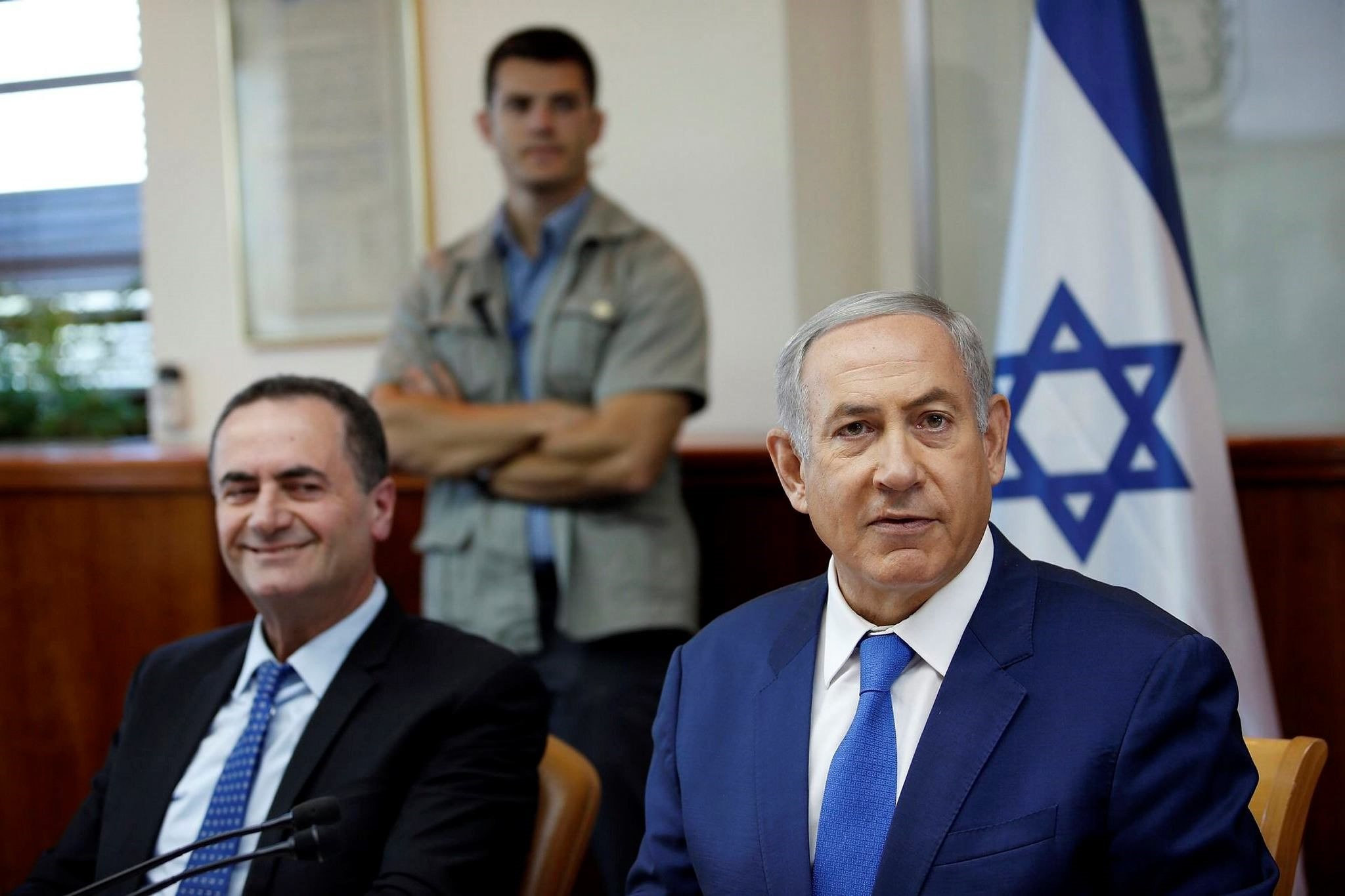Following the Israeli Prime Minister Benjamin Netanyahuu2019s visit, the minister of transportation and intelligence, Yisrael Katz (L) arrived in Oman to push for a railway project.