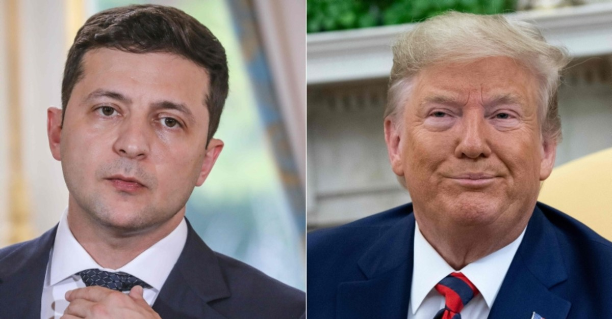 This combination of pictures created on September 24, 2019 shows Ukraine's President Volodymyr Zelensky in June 17, 2019 in Paris, and US President Donald Trump during a meeting in the Oval Office (AFP Photo)