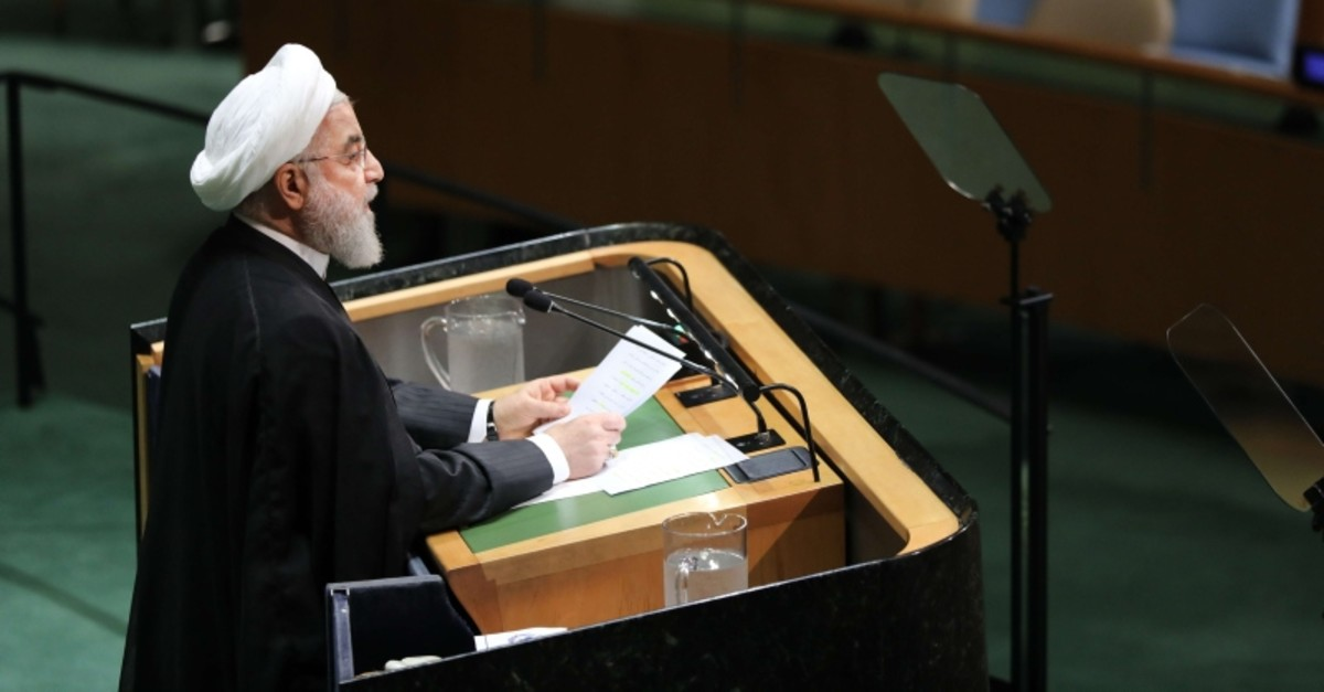 Iranian President Hassan Rouhani speaks at the 74th United Nations (U.N.) General Assembly on Sept. 25, 2019 in New York City. (Getty Images/AFP)