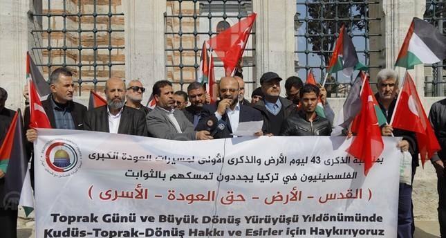 عرب وأتراك يتظاهرون في إسطنبول دعما للقضية الفلسطينية