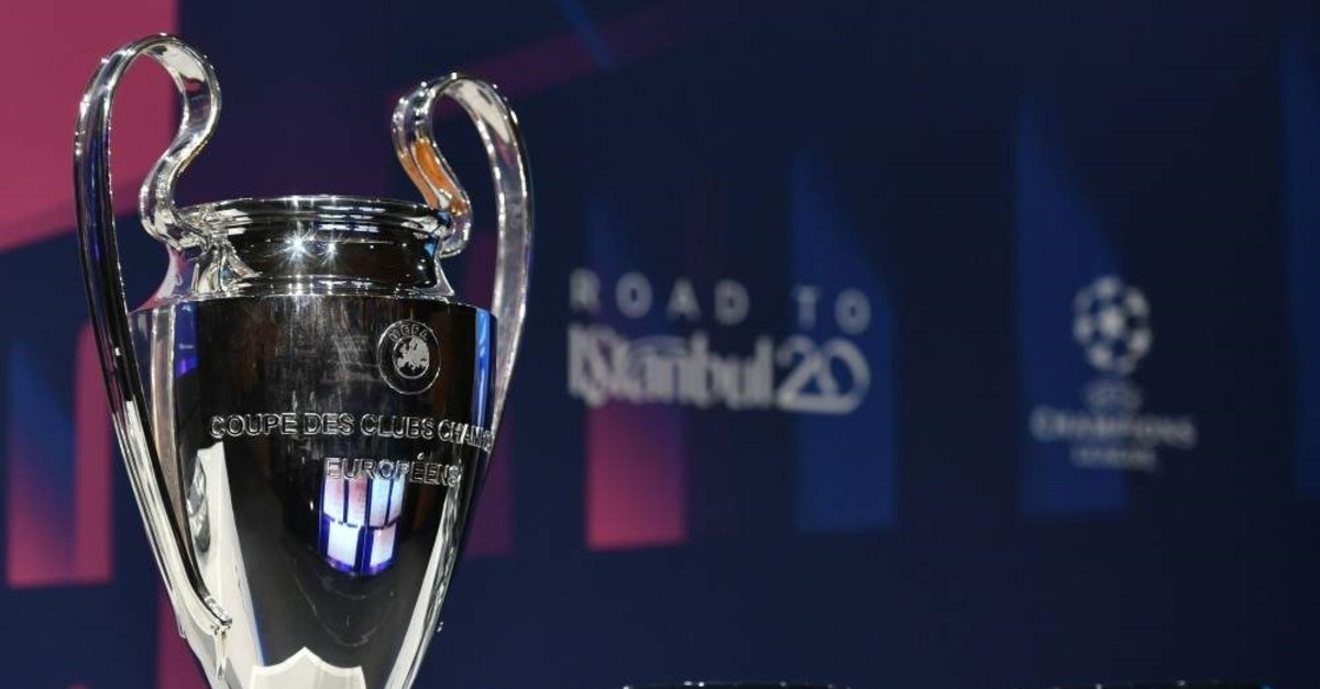 The UEFA Champions League football trophy is pictured prior to the round of 16 draw ceremony in Nyon, Switzerland, Dec. 16, 2019. (AFP Photo)
