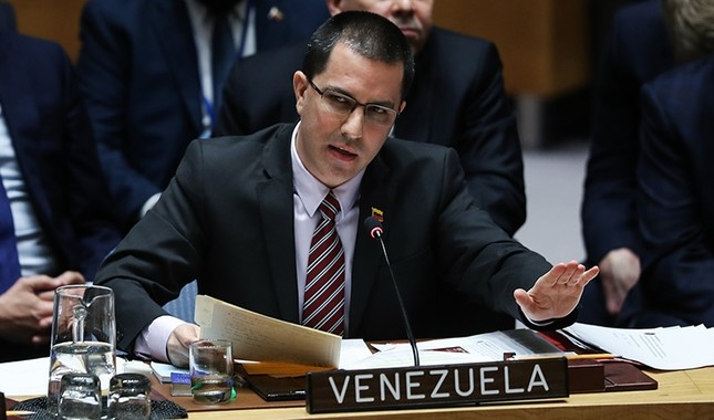 Venezuela's Foreign Minister Jorge Arreaza addresses the United Nations Human Rights Council in New York on Feb. 27, 2019. (AA Photo)