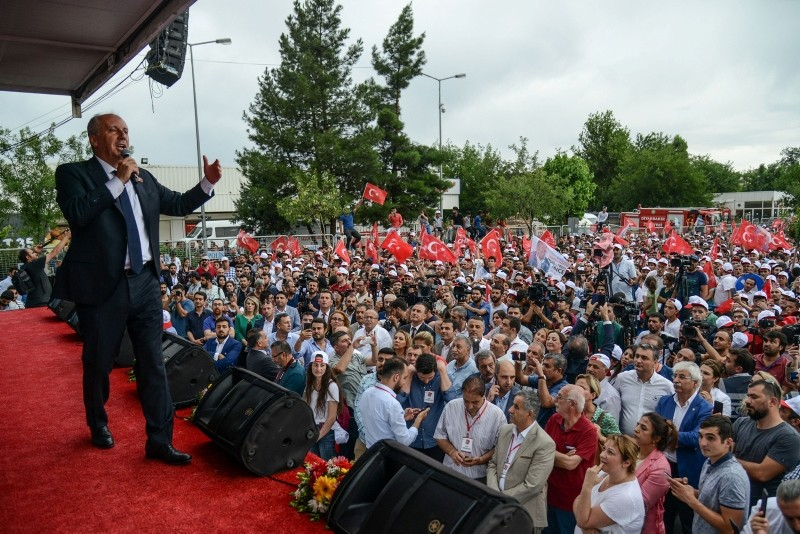 Ince delivers a speech during a campaign meeting in Diyarbaku0131r on June 11, 2018, ahead of the Turkish presidential and parliamentary elections which will be held on June 24, 2018. (AFP Photo)