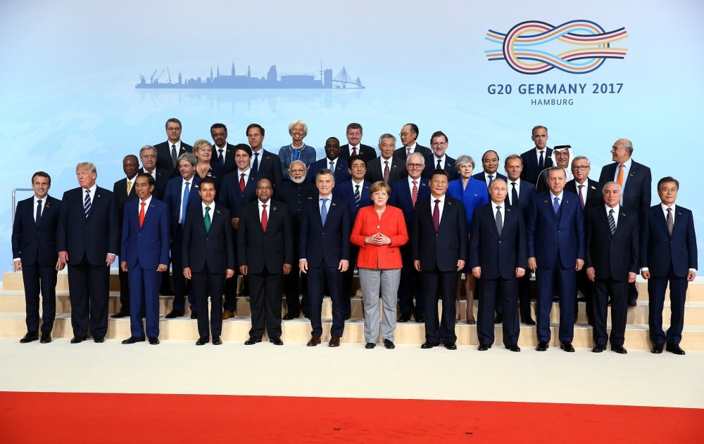 G20 leaders pose for a family photo at the summit held in Hamburg in 2017.