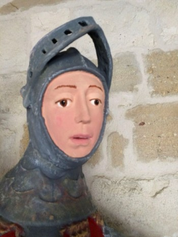 In this handout photo provided by ArtUs on Wednesday, June 27, 2018, a view of the 16th-century wooden figure of St. George, at St. Michael's Church in Estella, northern Spain, after its restoration. (AP Photo)