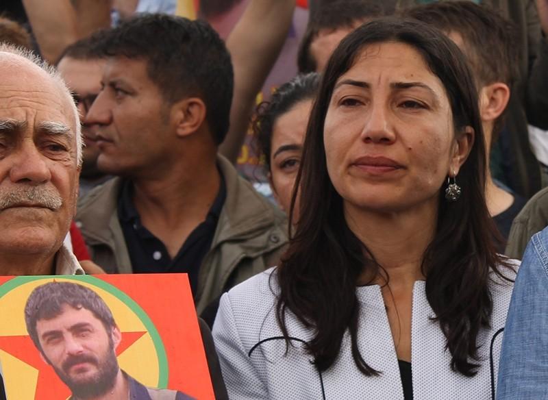 HDP Deputy Leyla Birlik (right) attending the funeral of a PKK terrorist in u015eu0131rnak province (File Photo)