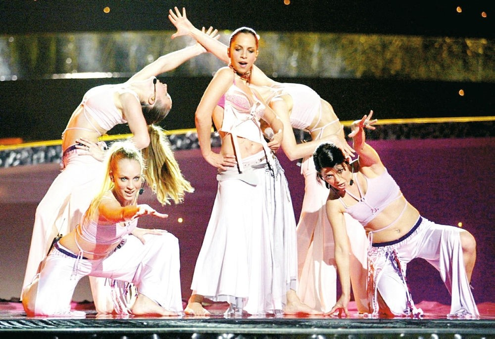 Turkish singer Sertab Erener's performance at the European Song Contest in 2003. (File Photo)