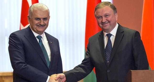 يلدريم في مؤتمر صحفي مشترك مع نظيره البيلاروسي (أسوشييتد برس)