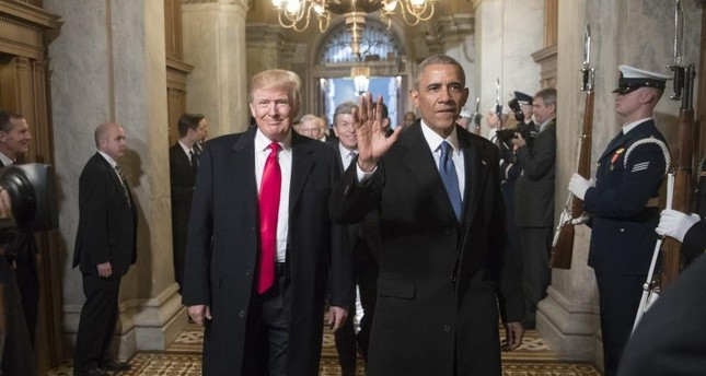 Then U.S. President-elect Donald Trump and former U.S. President Barack Obama arrive for Trump's inauguration ceremony at the Capitol in Washington, D.C., Jan. 20, 2017. AP Photo