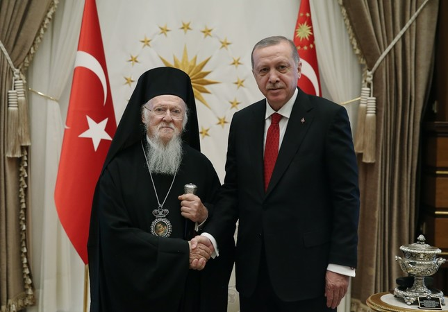 President Erdoğan received the Greek Orthodox patriarch at Presidential Complex.