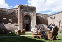 Historical caravanserai in central Turkey serves its purpose