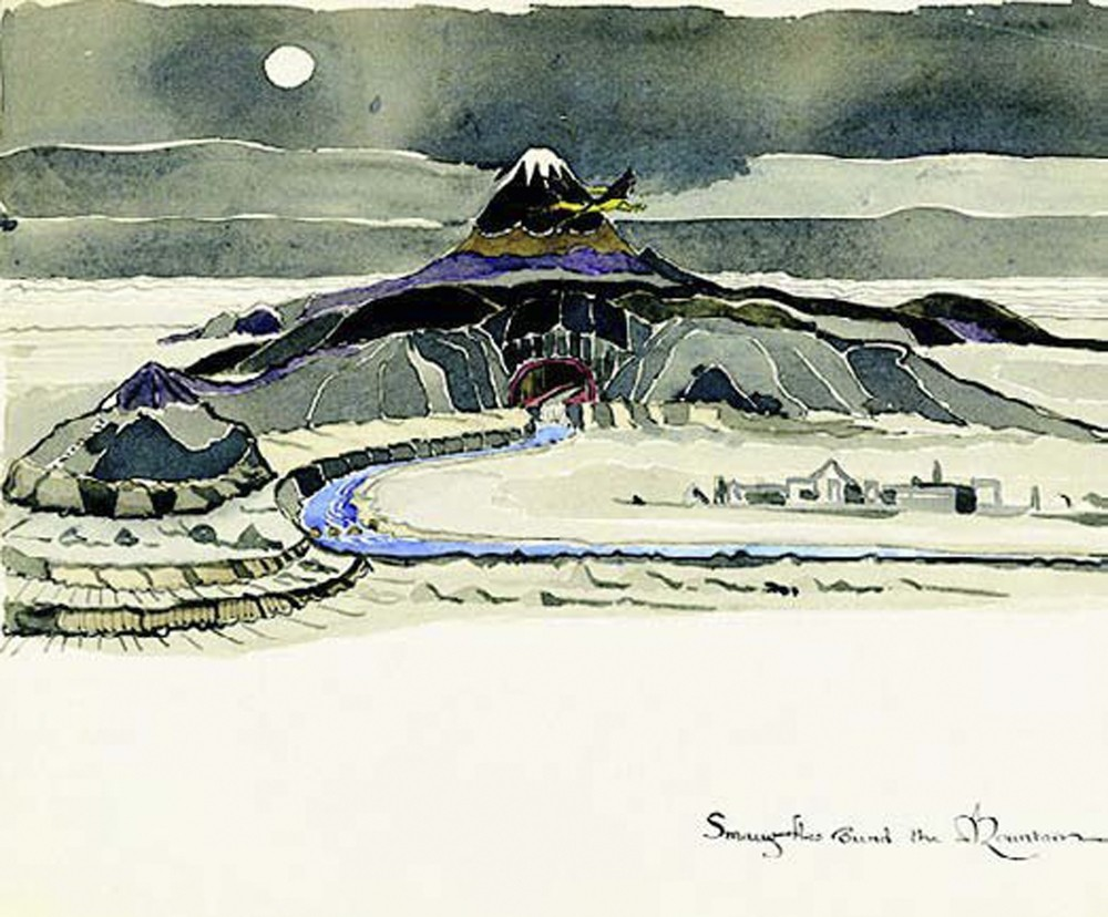 A general outlook of Hobbit houses and Middle Earth, drawn by Tolkien.