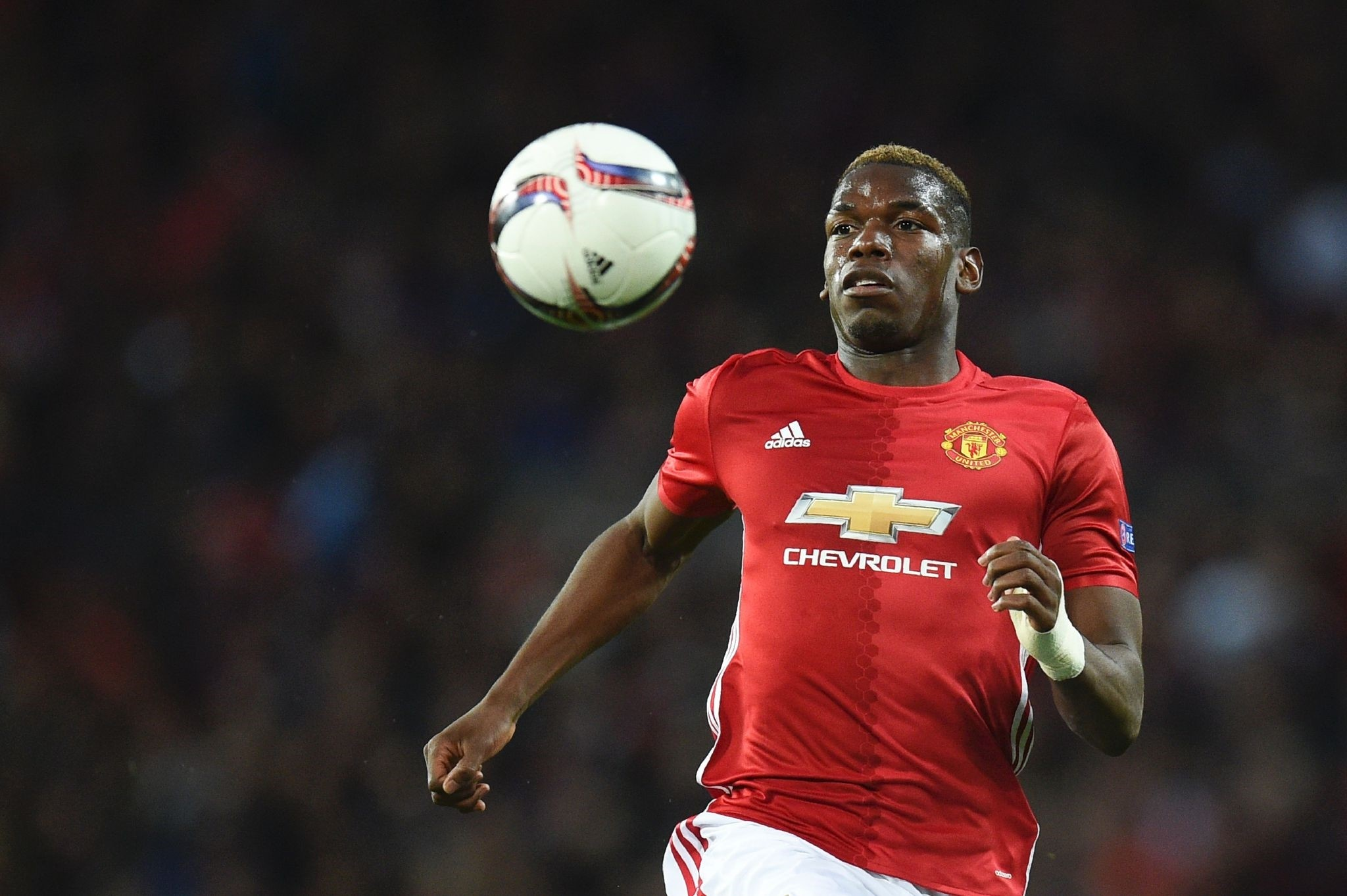 Manchester United's French midfielder Paul Pogba chases the ball during the UEFA Europa League quarter-final second leg football match between Manchester United and Anderlecht at Old Trafford in Manchester, north west on April 20, 2017. (AFP Photo)