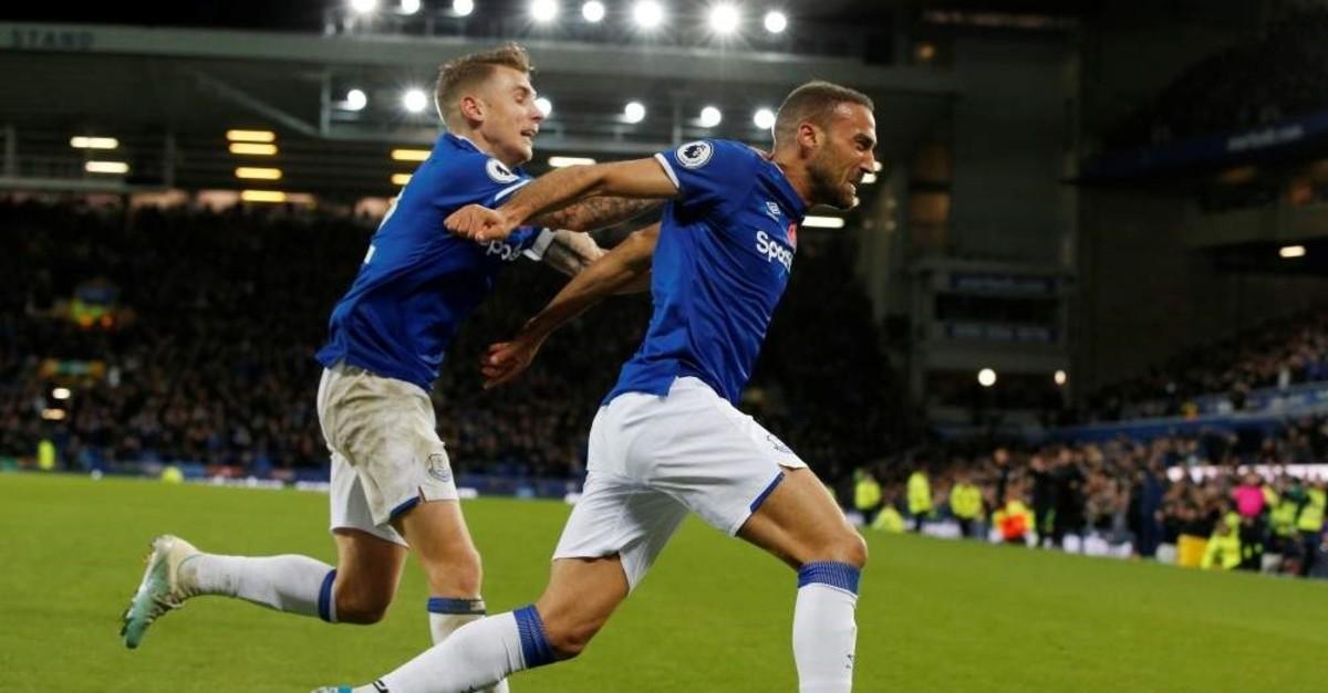 Everton's Cenk Tosun celebrates scoring their first goal with Lucas Digne. (REUTERS Photo)