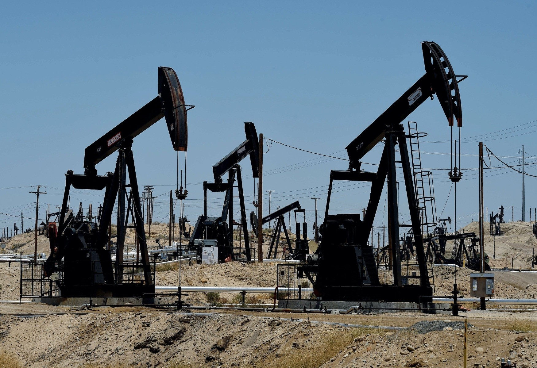 Pumping jacks at the Chevron section of the Kern River Oil Field near Bakersfield, California.