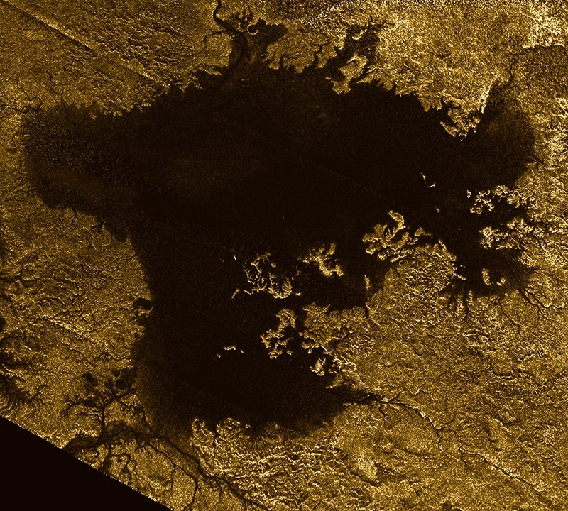 This 2007 image made available by NASA shows a hydrocarbon sea named Ligeia Mare on Saturn's moon Titan, as seen by the Cassini spacecraft.