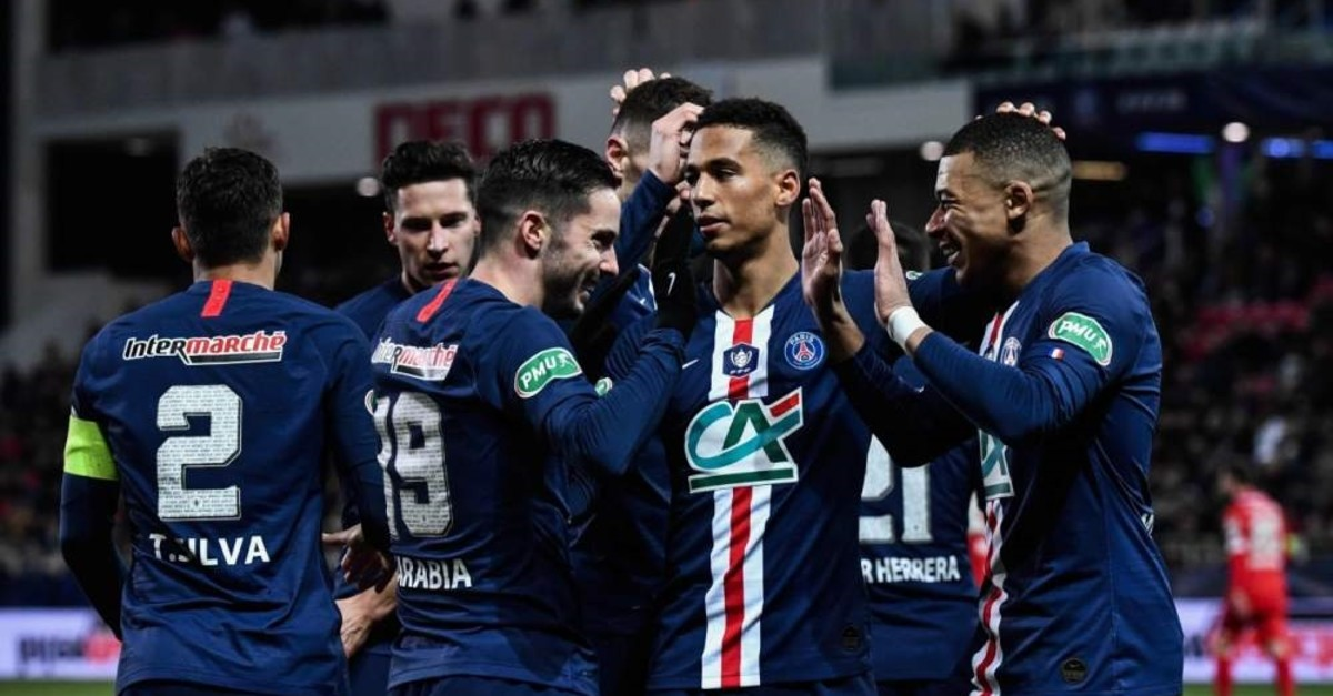 PSG players celebrate a goal during a French Cup match in Dijon, Feb. 12, 2020. (AFP Photo)